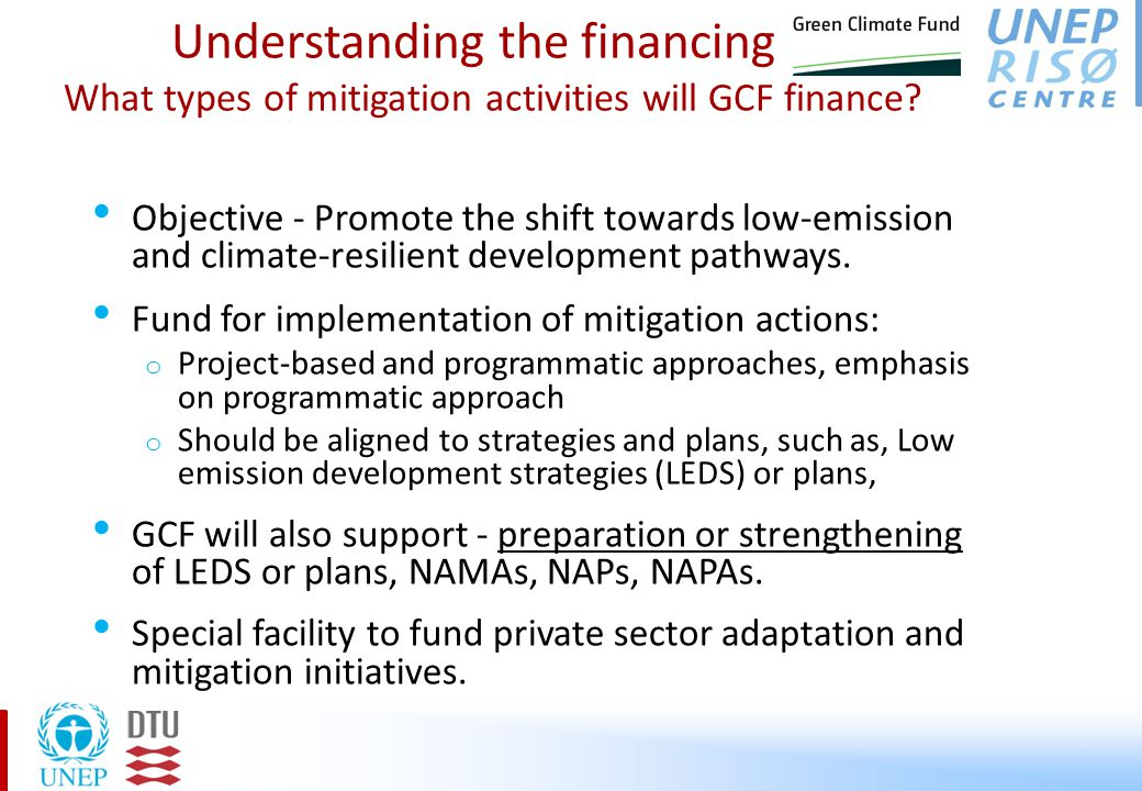 Understanding the financing – What types of mitigation activities will GCF finance.