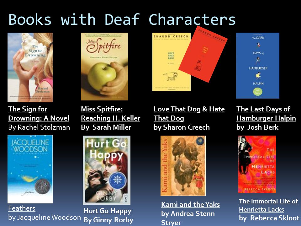 Books with Deaf Characters The Sign for Drowning: A Novel By Rachel Stolzman Feathers by Jacqueline Woodson Miss Spitfire: Reaching H. Keller By Sarah