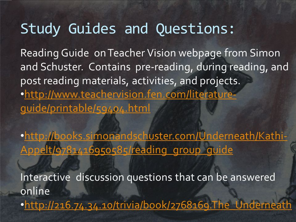 Study Guides and Questions: Reading Guide on Teacher Vision webpage from Simon and Schuster. Contains pre-reading, during reading, and post reading ma