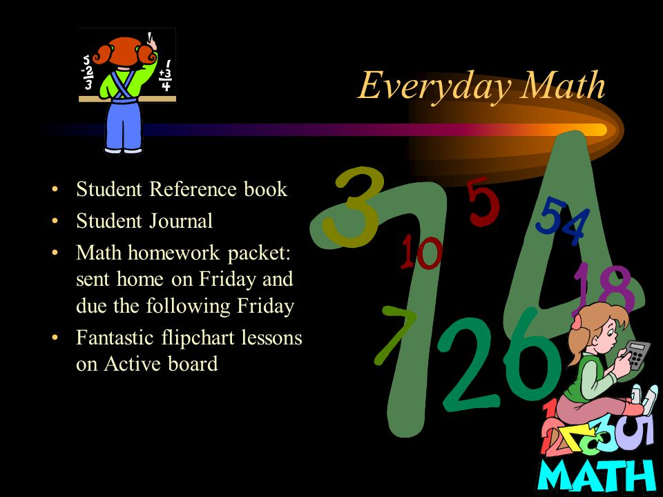 Everyday Math Student Reference book Student Journal Math homework packet: sent home on Friday and due the following Friday Fantastic flipchart lessons on Active board