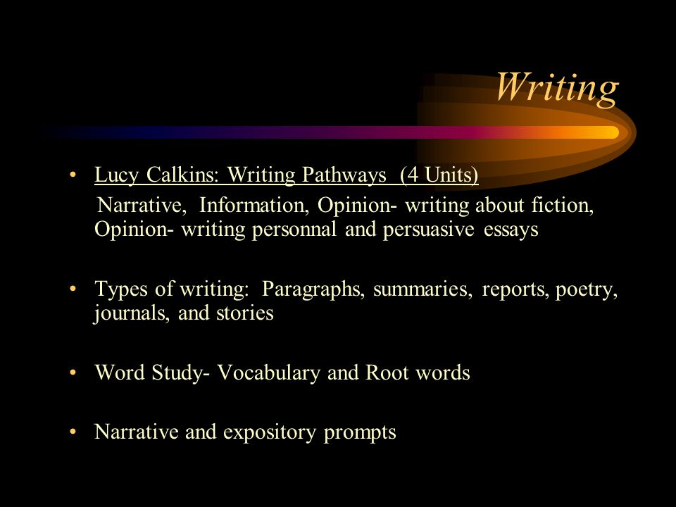 Lucy Calkins: Writing Pathways (4 Units) Narrative, Information, Opinion- writing about fiction, Opinion- writing personnal and persuasive essays Types of writing: Paragraphs, summaries, reports, poetry, journals, and stories Word Study- Vocabulary and Root words Narrative and expository prompts Writing