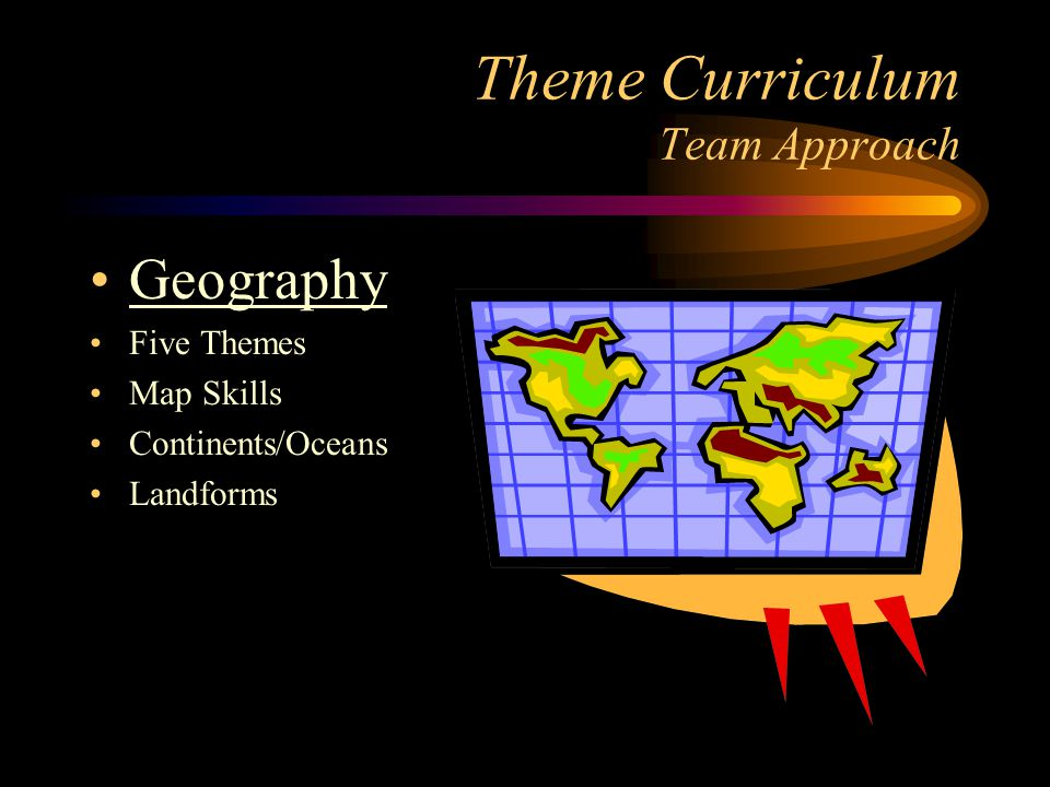 Theme Curriculum Team Approach Geography Five Themes Map Skills Continents/Oceans Landforms