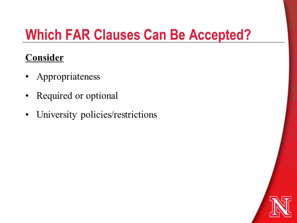 Which FAR Clauses Can Be Accepted.