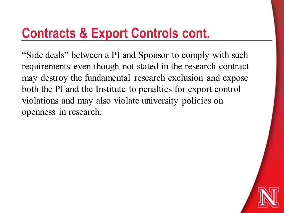 Contracts & Export Controls cont.