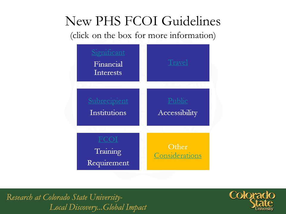 New PHS FCOI Guidelines (click on the box for more information)