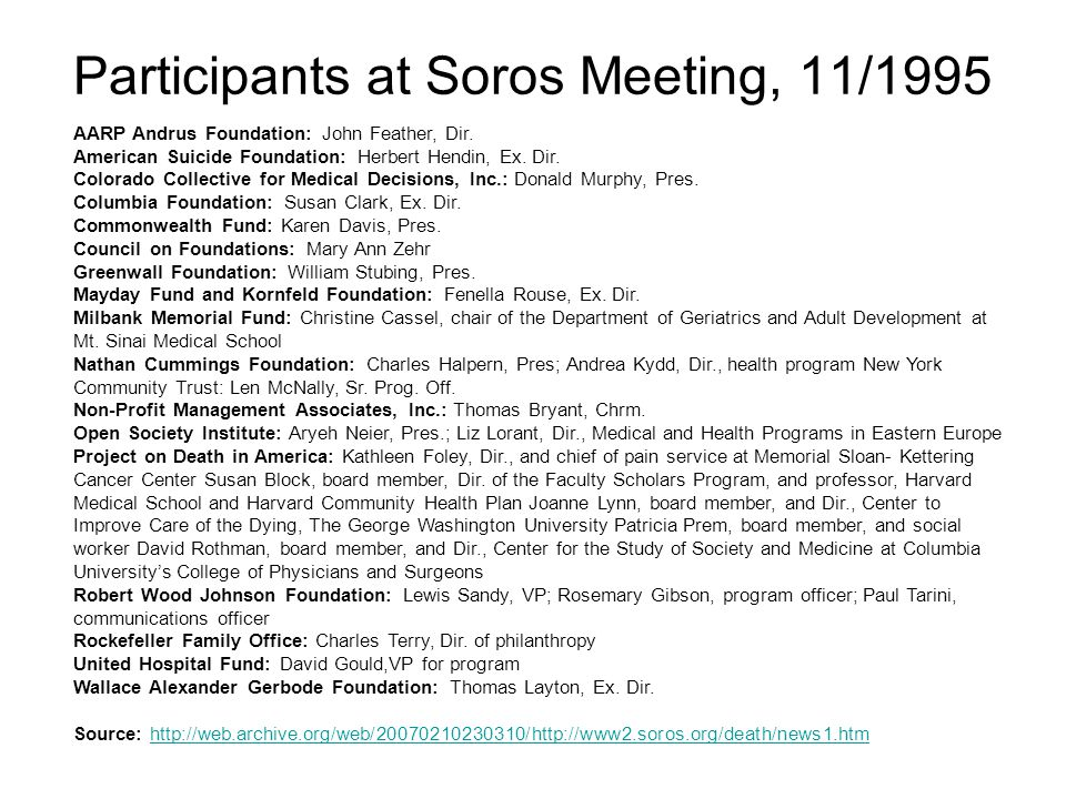 Participants at Soros Meeting, 11/1995 AARP Andrus Foundation: John Feather, Dir.