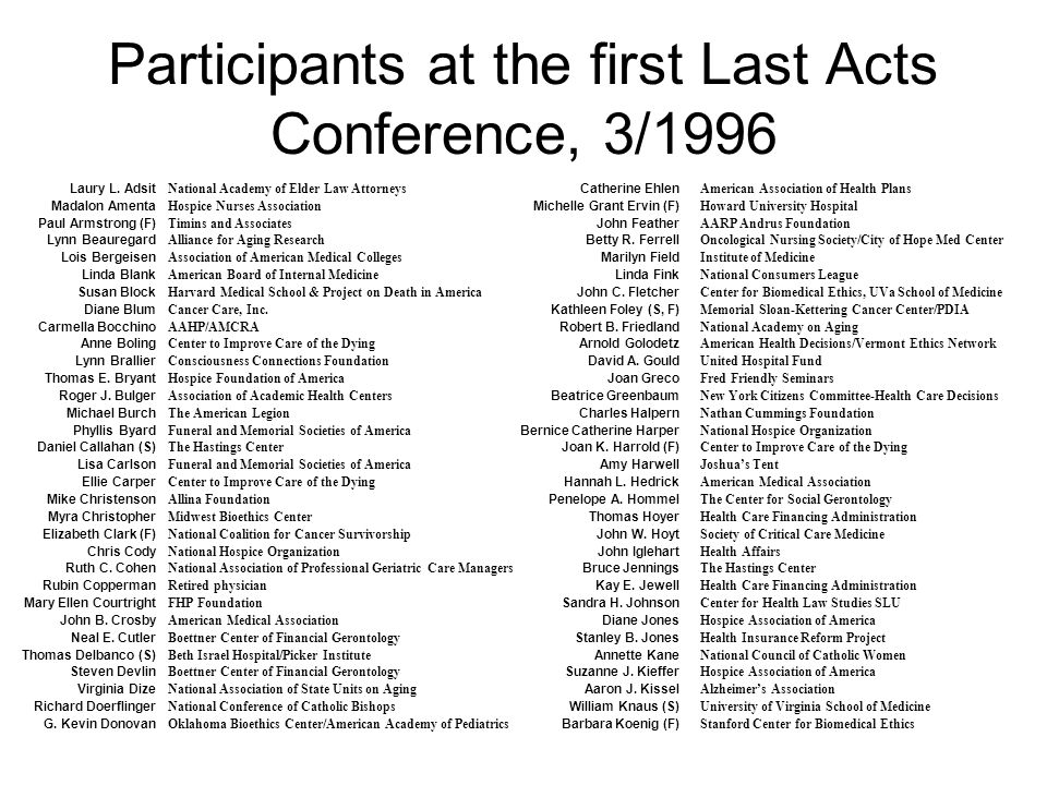 Participants at the first Last Acts Conference, 3/1996 Laury L.