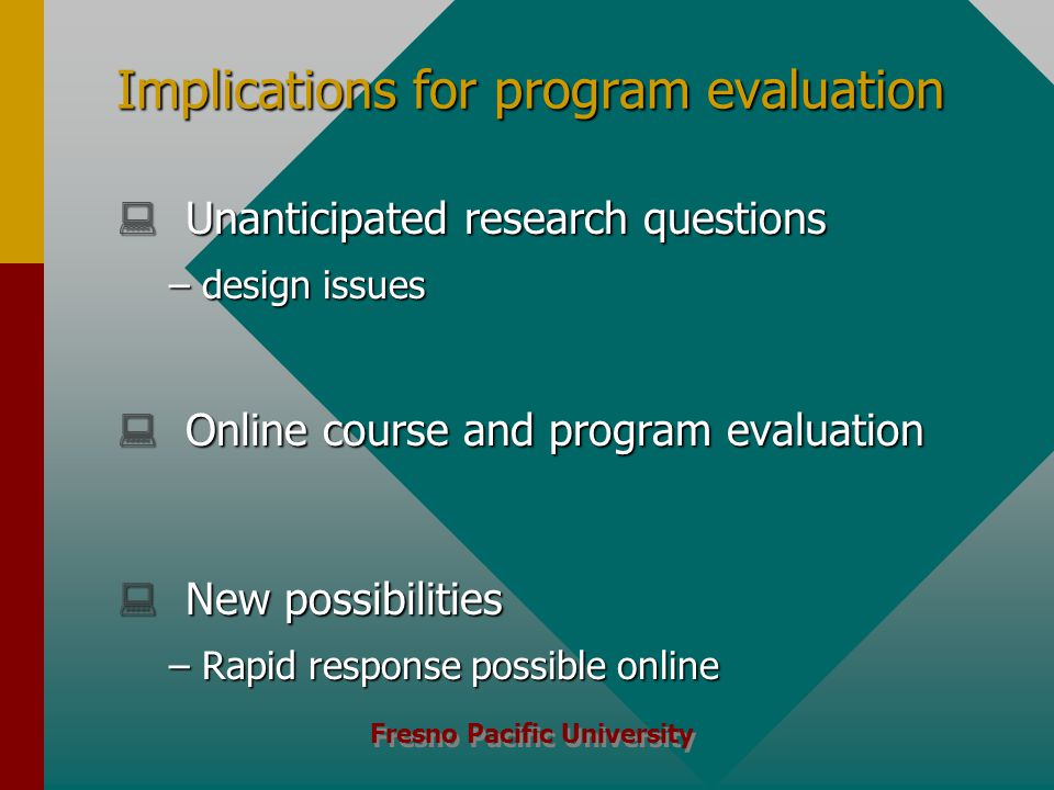 Fresno Pacific University Implications for program evaluation  Unanticipated research questions –design issues  Online course and program evaluation  New possibilities –Rapid response possible online