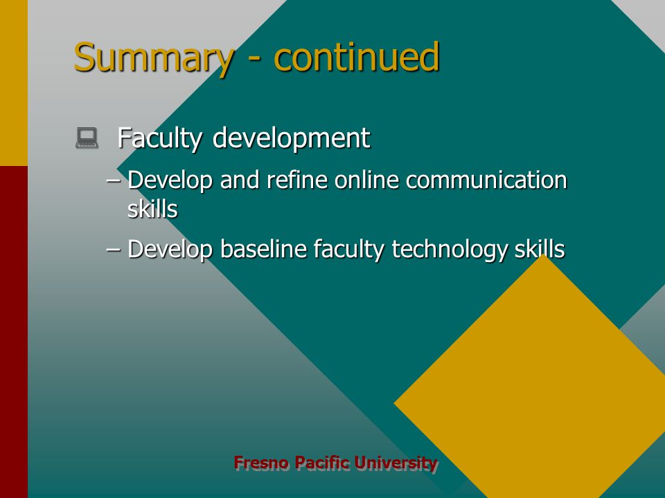 Fresno Pacific University Summary - continued  Faculty development –Develop and refine online communication skills –Develop baseline faculty technology skills