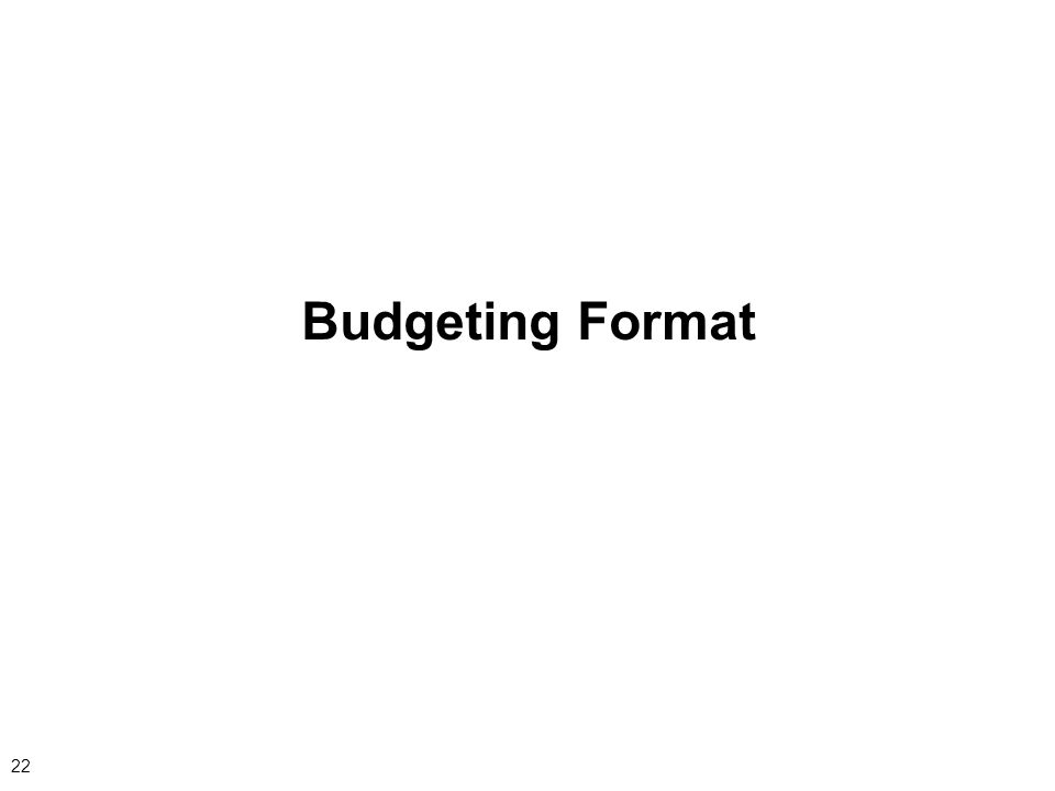 22 Budgeting Format