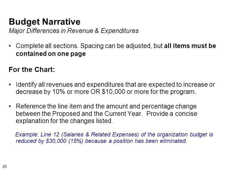 Budget Narrative Major Differences in Revenue & Expenditures Complete all sections.