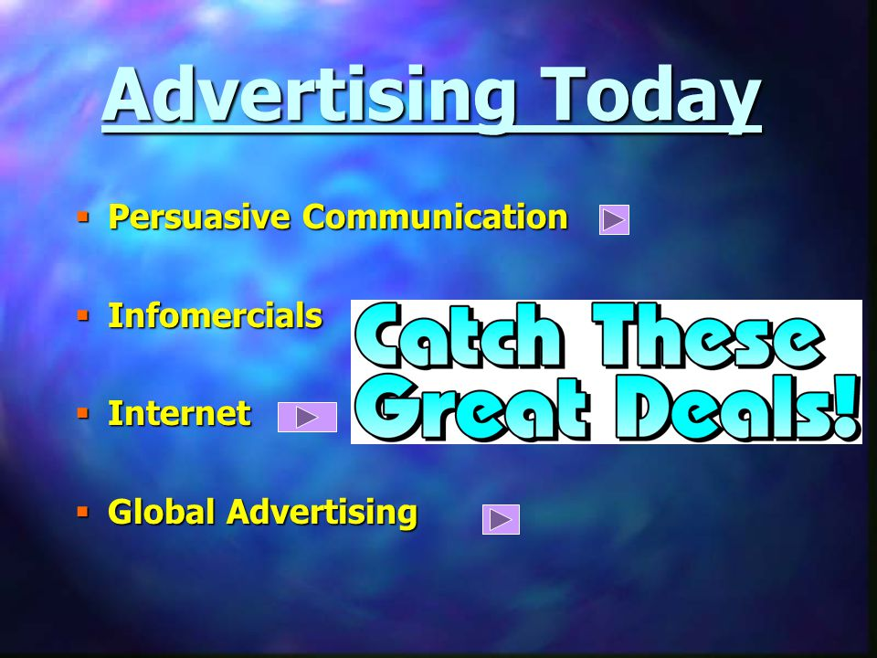 Advertising Today  Persuasive Communication  Infomercials  Internet  Global Advertising