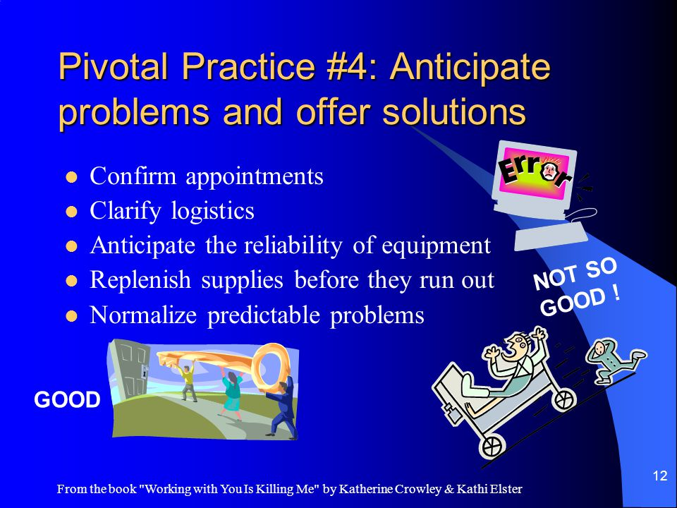 From the book Working with You Is Killing Me by Katherine Crowley & Kathi Elster 12 Pivotal Practice #4: Anticipate problems and offer solutions Confirm appointments Clarify logistics Anticipate the reliability of equipment Replenish supplies before they run out Normalize predictable problems GOOD NOT SO GOOD !