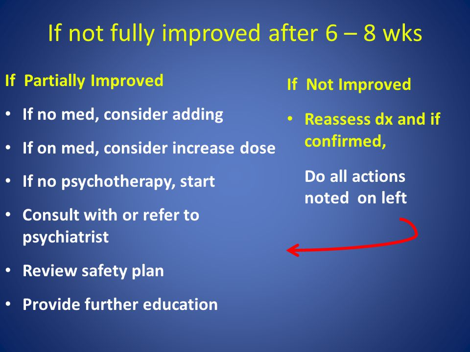 If not fully improved after 6 – 8 wks If Partially Improved If no med, consider adding If on med, consider increase dose If no psychotherapy, start Co