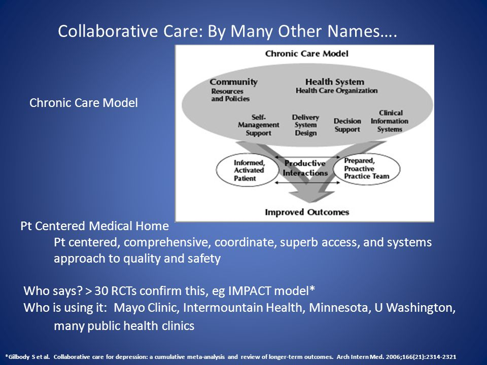 Collaborative Care: By Many Other Names…. Chronic Care Model Pt Centered Medical Home Pt centered, comprehensive, coordinate, superb access, and syste