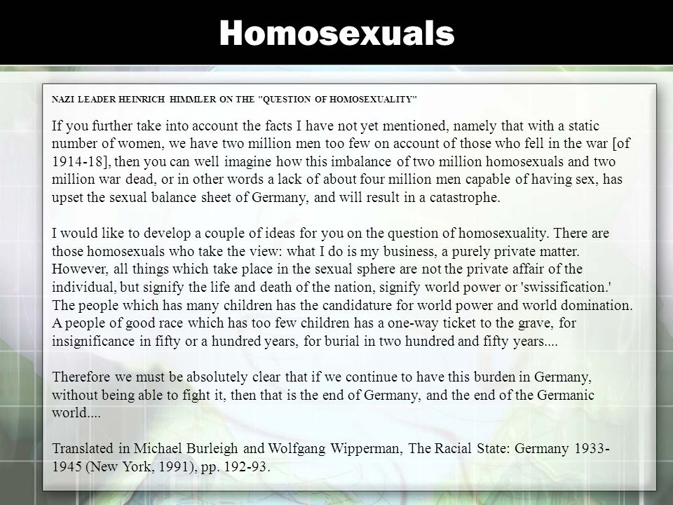 Homosexuals NAZI LEADER HEINRICH HIMMLER ON THE