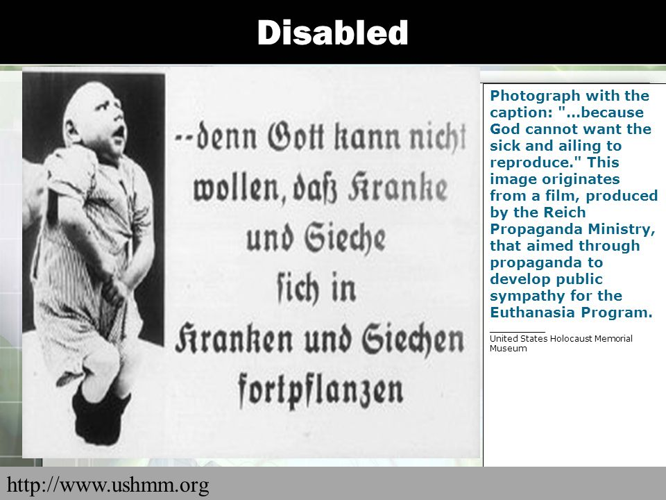 Disabled Propaganda slide produced by the Reich Propaganda Office showing the opportunity cost of feeding a person with a hereditary disease.