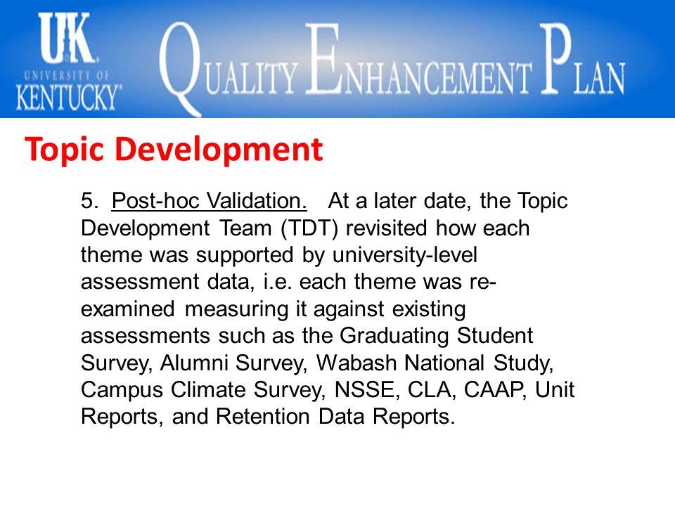 Topic Development 5. Post-hoc Validation.