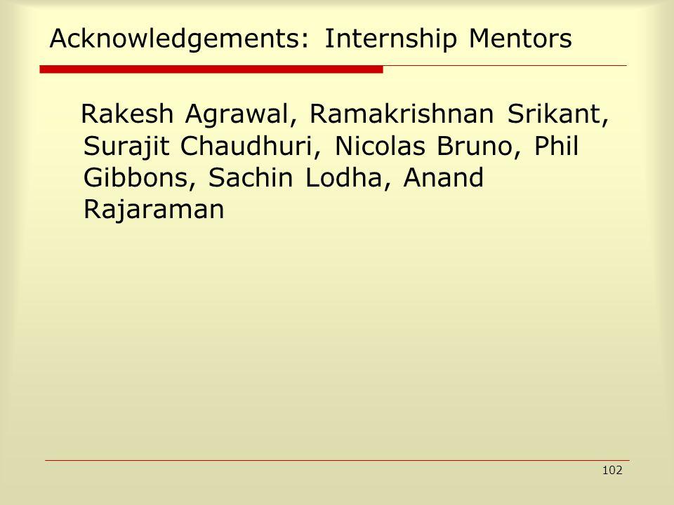 102 Acknowledgements: Internship Mentors Rakesh Agrawal, Ramakrishnan Srikant, Surajit Chaudhuri, Nicolas Bruno, Phil Gibbons, Sachin Lodha, Anand Raj