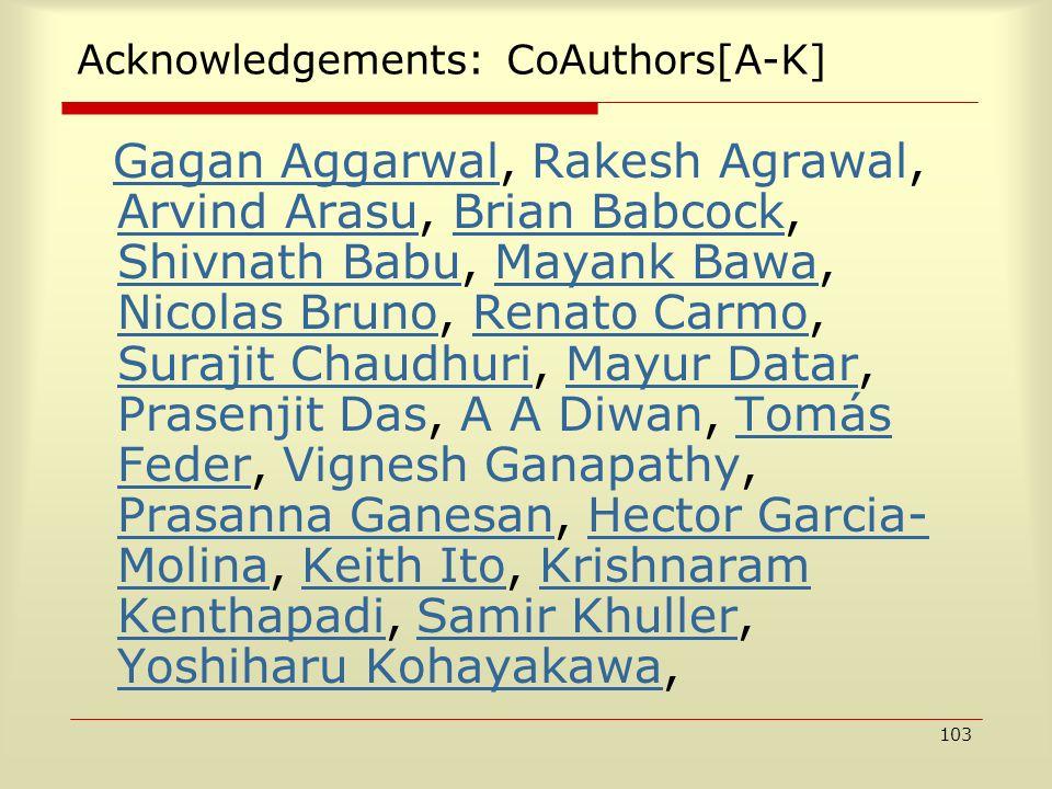 103 Acknowledgements: CoAuthors[A-K] Gagan Aggarwal, Rakesh Agrawal, Arvind Arasu, Brian Babcock, Shivnath Babu, Mayank Bawa, Nicolas Bruno, Renato Ca