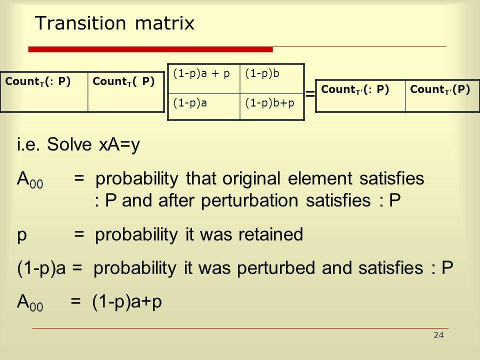 24 Transition matrix (1-p)a + p(1-p)b (1-p)a(1-p)b+p Count T ( : P)Count T ( P) Count T' ( : P)Count T' (P) = i.e.