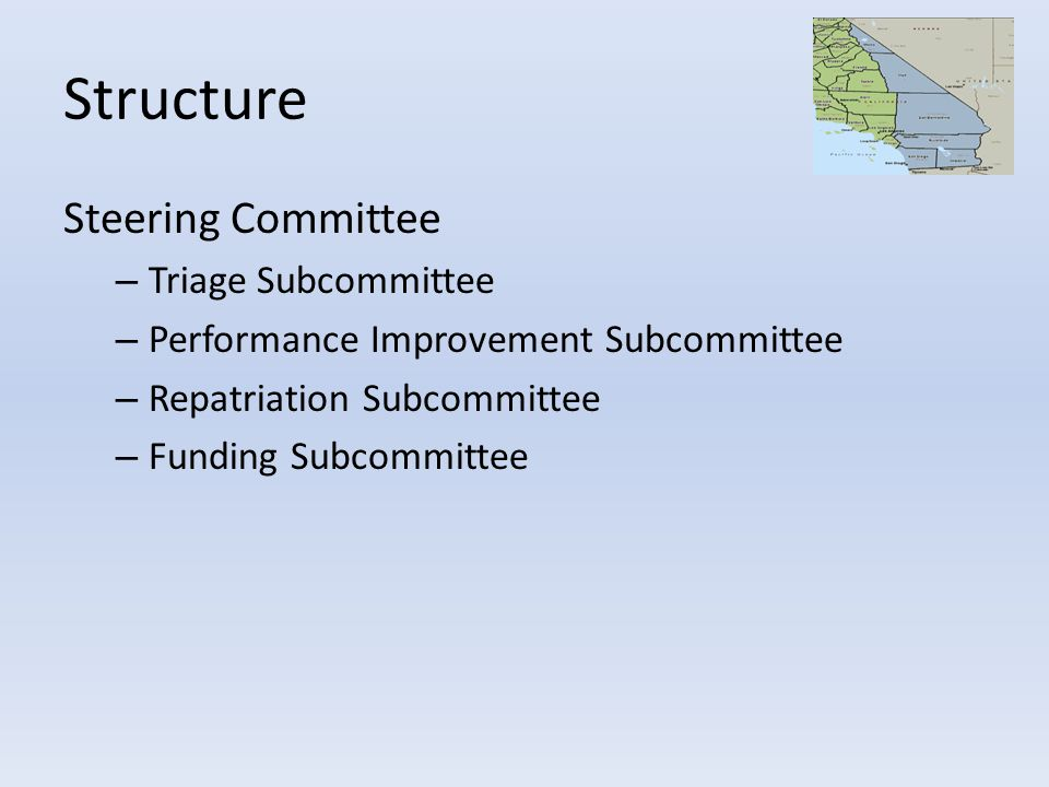 Structure Steering Committee – Triage Subcommittee – Performance Improvement Subcommittee – Repatriation Subcommittee – Funding Subcommittee