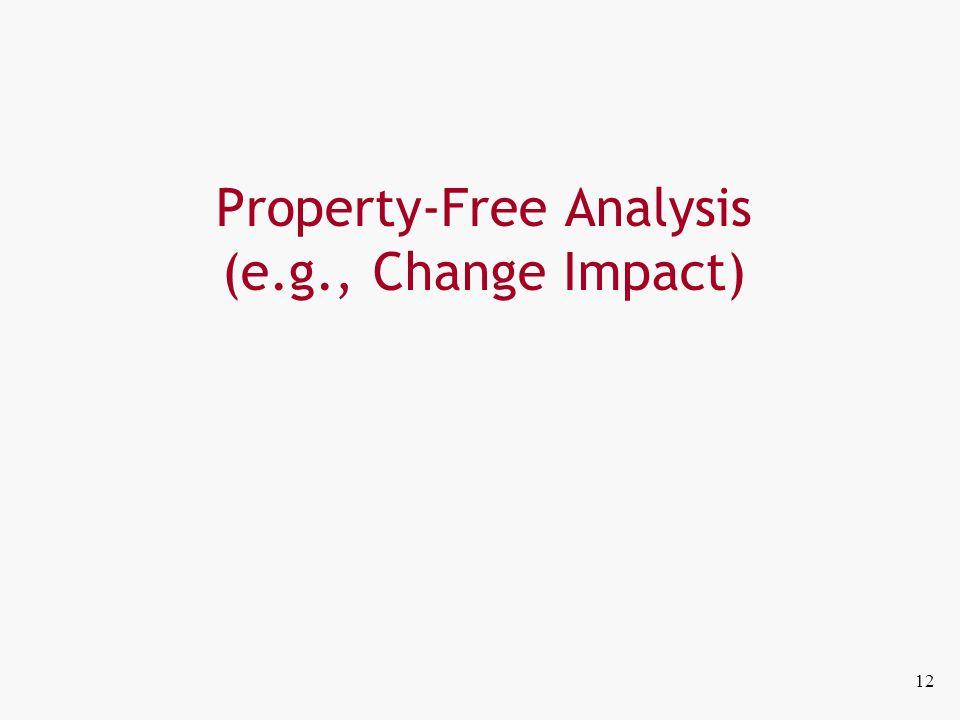 Property-Free Analysis (e.g., Change Impact) 12