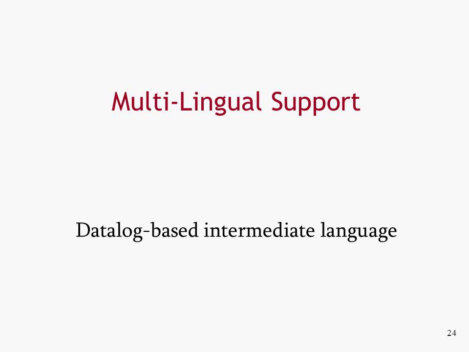 Multi-Lingual Support Datalog-based intermediate language 24
