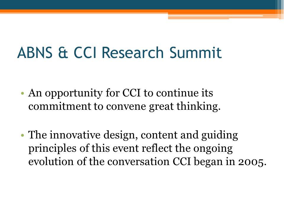 The Win-Win CCI Think Tank Strategy ABNS Membership & Research Agenda ABNS CCI Research Summit