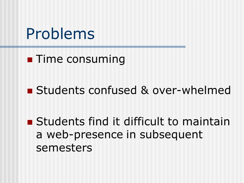Problems Time consuming Students confused & over-whelmed Students find it difficult to maintain a web-presence in subsequent semesters