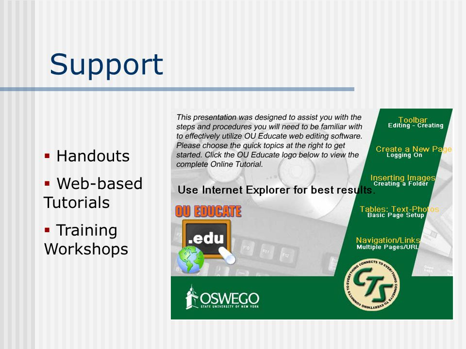 Support  Handouts  Web-based Tutorials  Training Workshops