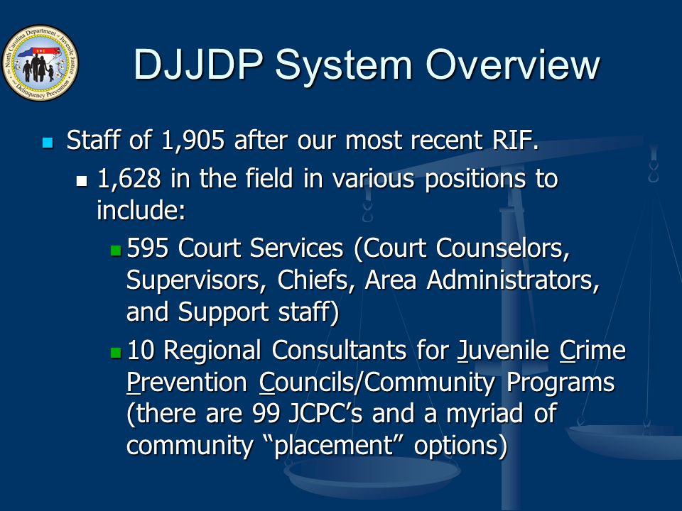 DJJDP System Overview Staff of 1,905 after our most recent RIF.