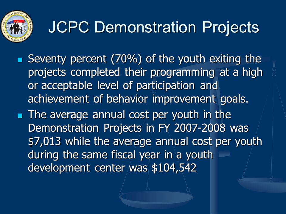 JCPC Demonstration Projects Seventy percent (70%) of the youth exiting the projects completed their programming at a high or acceptable level of parti