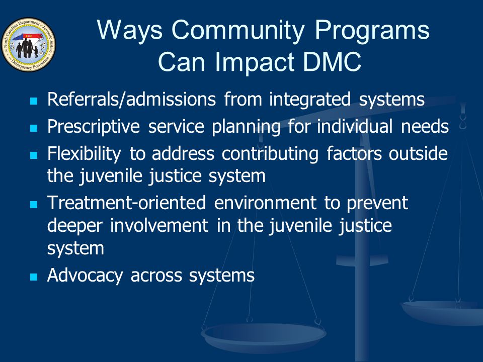 Ways Community Programs Can Impact DMC Referrals/admissions from integrated systems Prescriptive service planning for individual needs Flexibility to