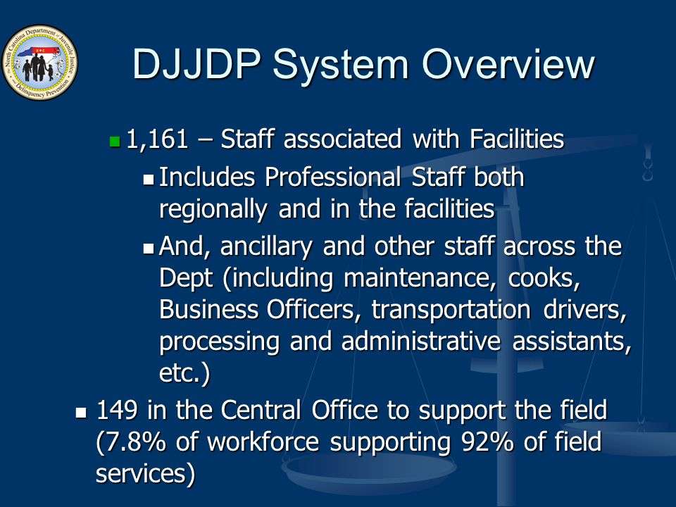 DJJDP System Overview 1,161 – Staff associated with Facilities 1,161 – Staff associated with Facilities Includes Professional Staff both regionally and in the facilities Includes Professional Staff both regionally and in the facilities And, ancillary and other staff across the Dept (including maintenance, cooks, Business Officers, transportation drivers, processing and administrative assistants, etc.) And, ancillary and other staff across the Dept (including maintenance, cooks, Business Officers, transportation drivers, processing and administrative assistants, etc.) 149 in the Central Office to support the field (7.8% of workforce supporting 92% of field services) 149 in the Central Office to support the field (7.8% of workforce supporting 92% of field services)