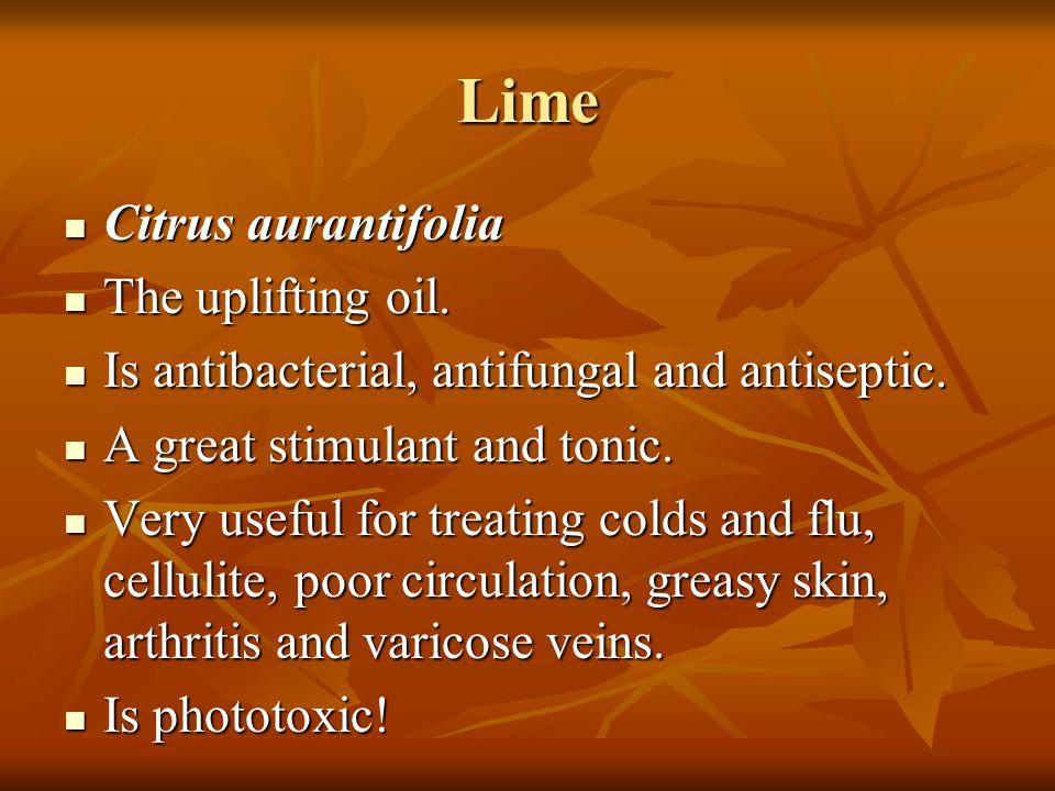 Lime Citrus aurantifolia Citrus aurantifolia The uplifting oil. The uplifting oil. Is antibacterial, antifungal and antiseptic. Is antibacterial, anti