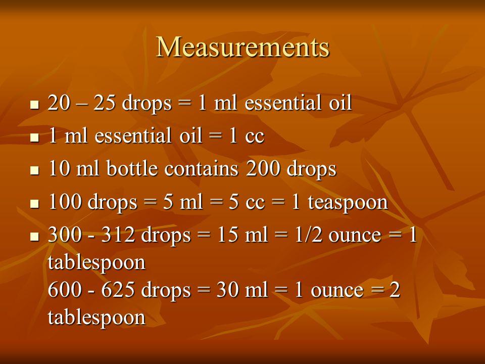 Measurements 20 – 25 drops = 1 ml essential oil 20 – 25 drops = 1 ml essential oil 1 ml essential oil = 1 cc 1 ml essential oil = 1 cc 10 ml bottle co