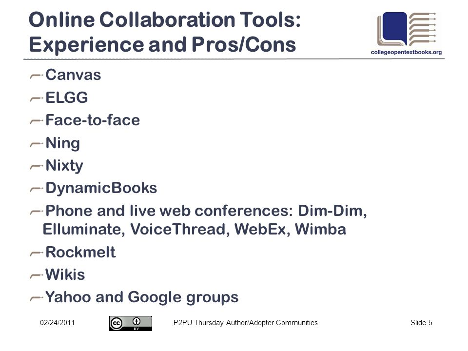 P2PU Thursday Author/Adopter CommunitiesSlide 502/24/2011 Online Collaboration Tools: Experience and Pros/Cons Canvas ELGG Face-to-face Ning Nixty Dyn