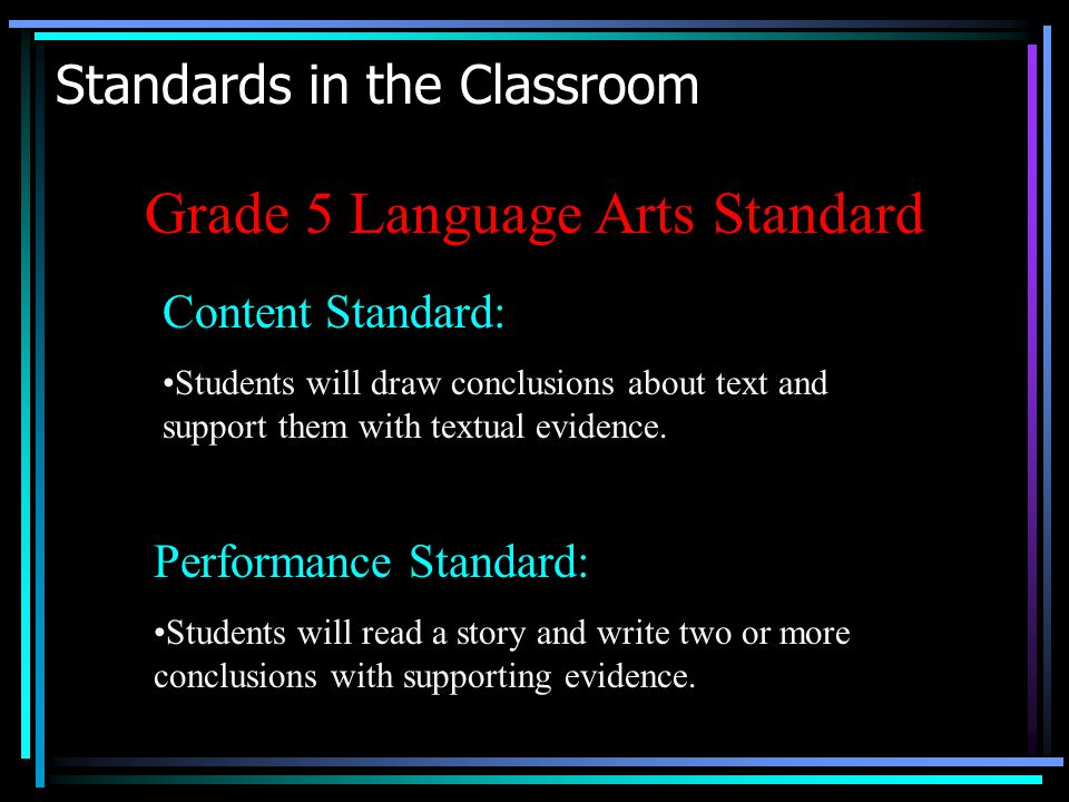 Standards in the Classroom Grade 5 Language Arts Standard Content Standard: Students will draw conclusions about text and support them with textual evidence.