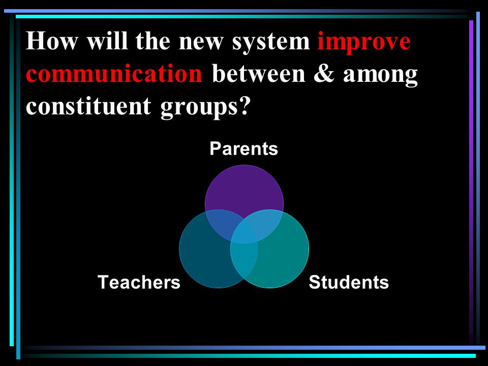 How will the new system improve communication between & among constituent groups.