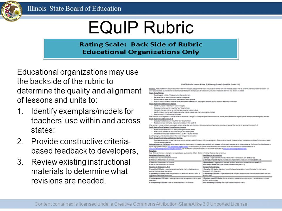 EQuIP Rubric Educational organizations may use the backside of the rubric to determine the quality and alignment of lessons and units to: 1.Identify exemplars/models for teachers' use within and across states; 2.Provide constructive criteria- based feedback to developers, 3.Review existing instructional materials to determine what revisions are needed.