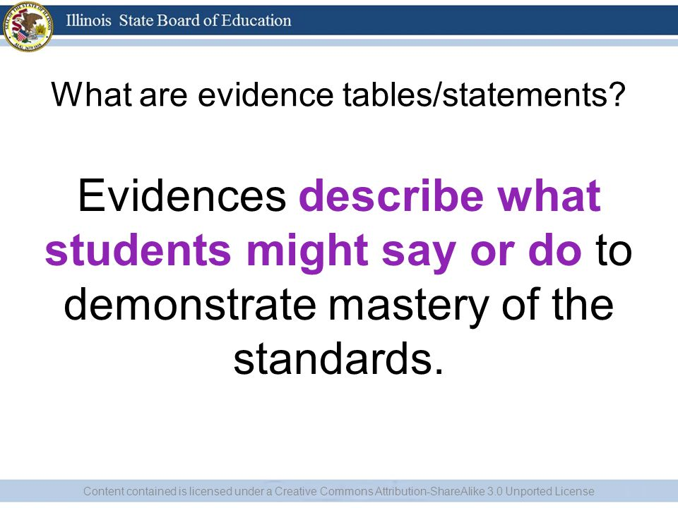 What are evidence tables/statements.