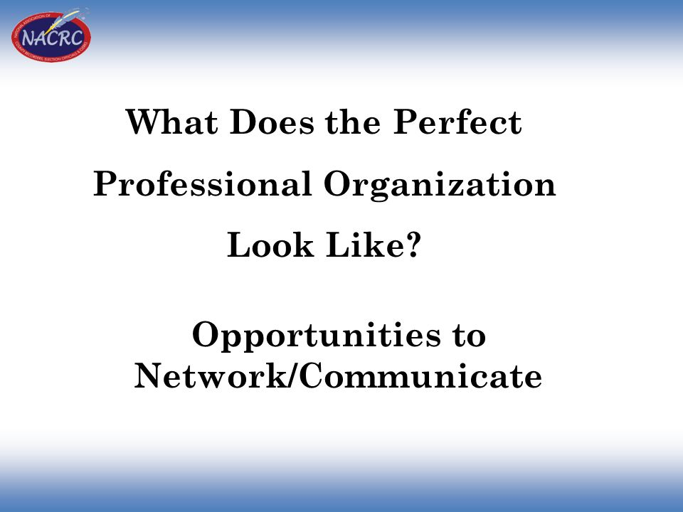 What Does the Perfect Professional Organization Look Like? Opportunities to Network/Communicate