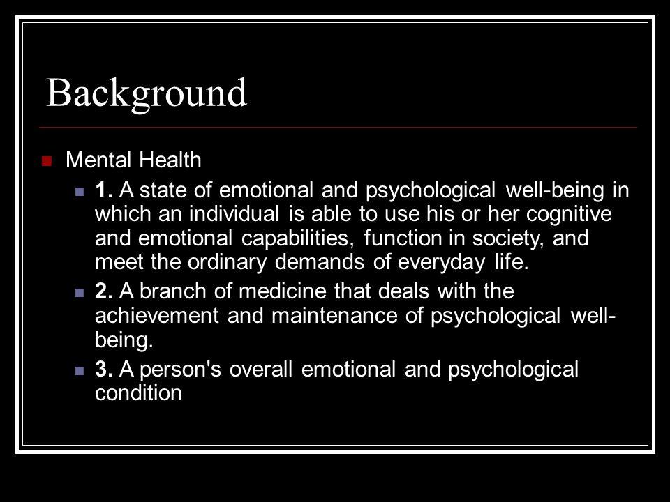 Background Mental Health 1.