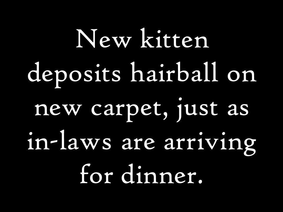 New kitten deposits hairball on new carpet, just as in-laws are arriving for dinner.