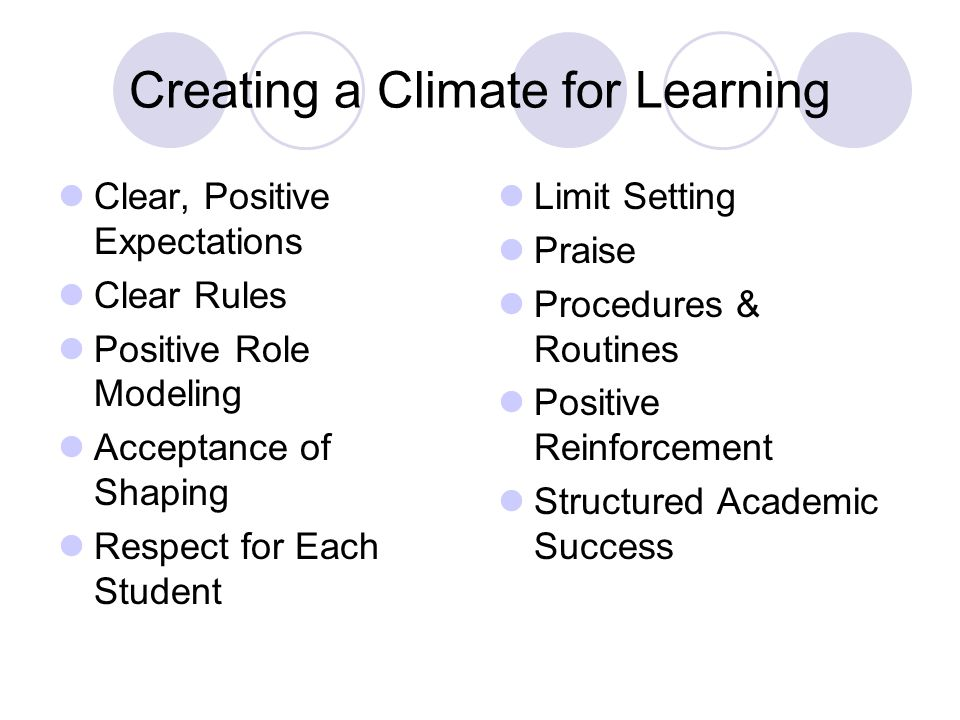Creating a Climate for Learning Clear, Positive Expectations Clear Rules Positive Role Modeling Acceptance of Shaping Respect for Each Student Limit Setting Praise Procedures & Routines Positive Reinforcement Structured Academic Success