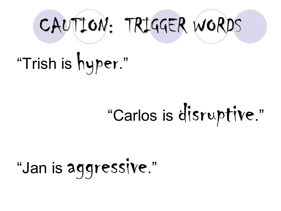 CAUTION: TRIGGER WORDS Trish is hyper. Carlos is disruptive. Jan is aggressive.