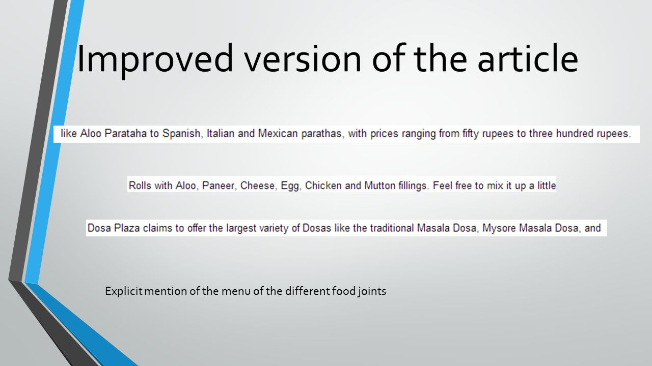 Improved version of the article Explicit mention of the menu of the different food joints