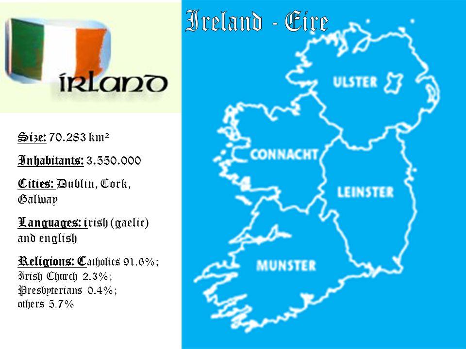 Size: 70.283 km² Inhabitants: 3.550.000 Cities: Dublin, Cork, Galway Languages: irish (gaelic) and english Religions: C atholics 91.6%; Irish Church 2.3%; Presbyterians 0.4%; others 5.7%