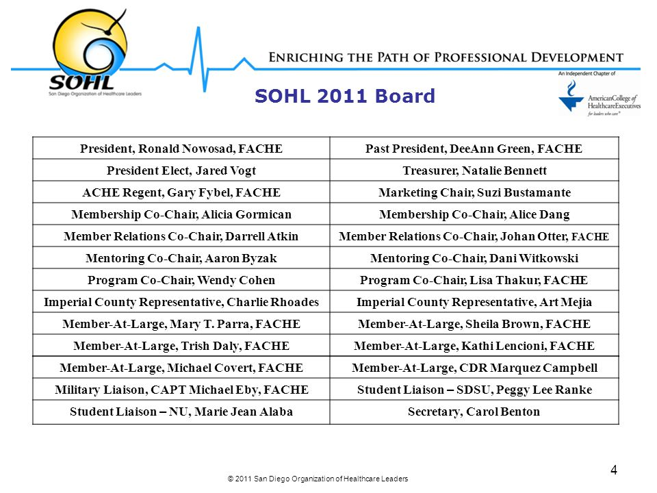 SOHL 2011 Board © 2011 San Diego Organization of Healthcare Leaders 4 President, Ronald Nowosad, FACHEPast President, DeeAnn Green, FACHE President Elect, Jared VogtTreasurer, Natalie Bennett ACHE Regent, Gary Fybel, FACHEMarketing Chair, Suzi Bustamante Membership Co-Chair, Alicia GormicanMembership Co-Chair, Alice Dang Member Relations Co-Chair, Darrell AtkinMember Relations Co-Chair, Johan Otter, FACHE Mentoring Co-Chair, Aaron ByzakMentoring Co-Chair, Dani Witkowski Program Co-Chair, Wendy CohenProgram Co-Chair, Lisa Thakur, FACHE Imperial County Representative, Charlie RhoadesImperial County Representative, Art Mejia Member-At-Large, Mary T.